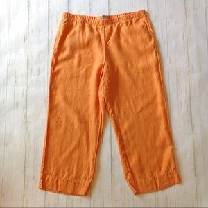 J. Jill Bright Orange 100% Linen Cropped Pants